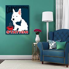 caffeine dog canvas print
